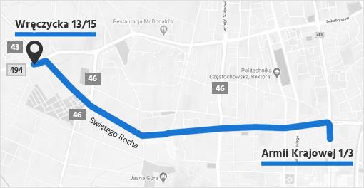 Mapa dojazdu do siedziby firmy eAlarmy.pl