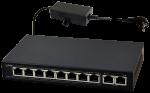 S108 10-portowy switch PoE dla 8 kamer IP, 8x PoE + 2x UPLINK PULSAR
