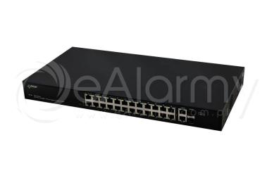 SF124 26-portowy switch PoE dla 24 kamer IP, 24xPoE, 2xSFP, 2xUPLINK Pulsar