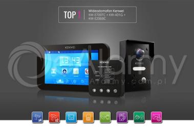 Zestaw TOP1: monitor KW-E709TC-W + kamera KW-E206BC + moduł KW-401G wideodomofon KENWEI