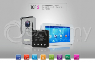 Zestaw TOP2: monitor KW-E709TC-W + kamera KW-S201C-1BS-D + moduł KW-401G wideodomofon KENWEI