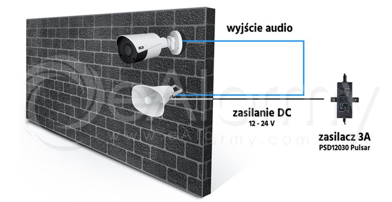 Schemat połączenia aktywnego głośnika tubowego z zewnętrzną kamerą IP