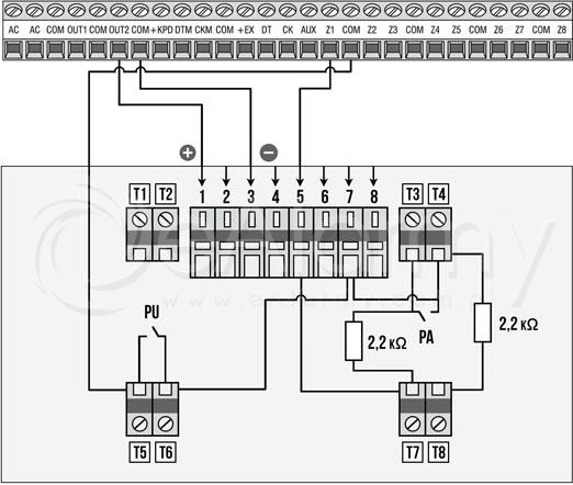 Schemat podłączenia czujki DOP-40R do centrali alarmowej metodą 2EOL/NO