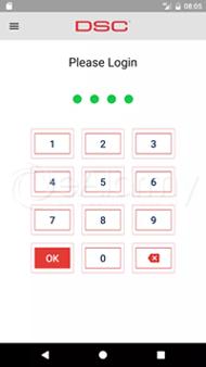 Aplikacja WP DSC - okno logowania