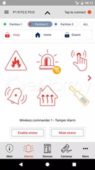 Aplikacja WP DSC - okno ustawień alarmów