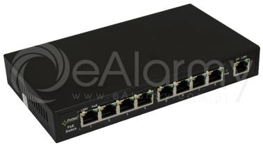 S98 9-portowy switch PoE dla 8 kamer IP, 8x PoE + 1x UPLINK Pulsar
