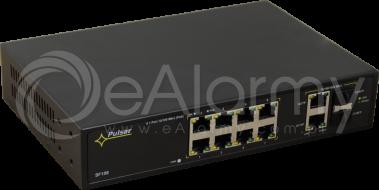 SF108 10-portowy switch PoE dla 8 kamer IP, 8x PoE + 2x SFP + 2x UPLINK Pulsar