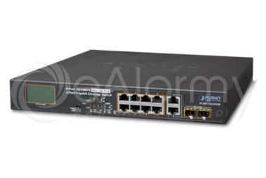 FGSD-1022VHP 10-portowy switch PoE dla 8 kamer IP, 8x PoE + 2x TP/SFP, wyświetlacz LCD PLANET