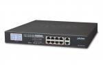 GSD-1002VHP 10-portowy switch PoE dla 8 kamer IP, 8x PoE, wyświetlacz LCD PLANET