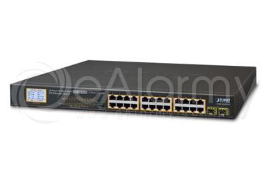 GSW-2620VHP 26-portowy switch PoE dla 24 kamer IP, 24x PoE + 2x SFP, wyświetlacz LCD PLANET